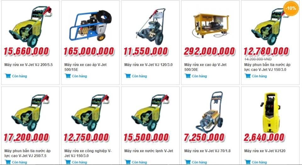 Một số sản phẩm máy rửa xe tại Yên Phát