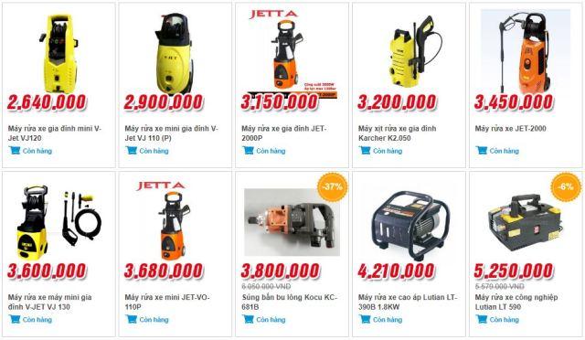 Một số sản phẩm máy rửa xe mini gia đình