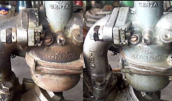 Xe máy trước và sau khi tẩy gỉ sét bằng baking soda